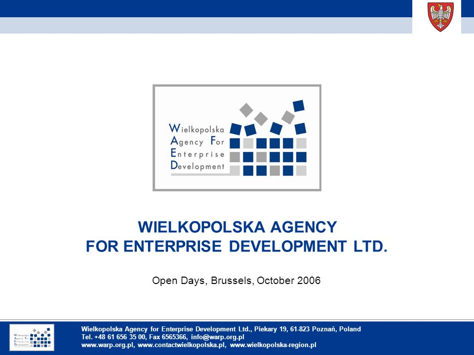 Inhaltsverzeichnis WIELKOPOLSKA AGENCY FOR ENTERPRISE DEVELOPMENT LTD.
