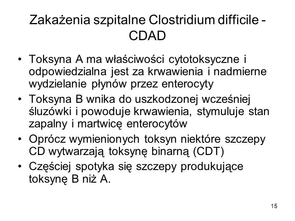 15 Zakażenia szpitalne Clostridium difficile - CDAD Toksyna A ma właściwości cytotoksyczne i odpowiedzialna jest za krwawienia i nadmierne wydzielanie