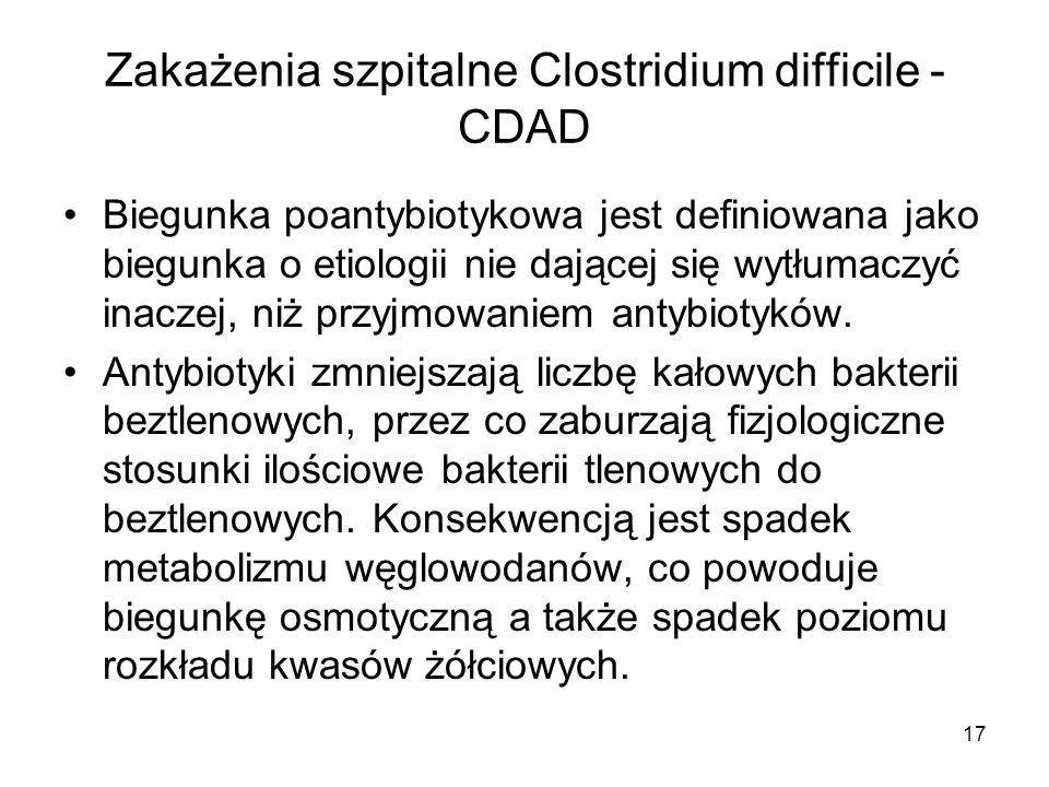 17 Zakażenia szpitalne Clostridium difficile - CDAD Biegunka poantybiotykowa jest definiowana jako biegunka o etiologii nie dającej się wytłumaczyć in