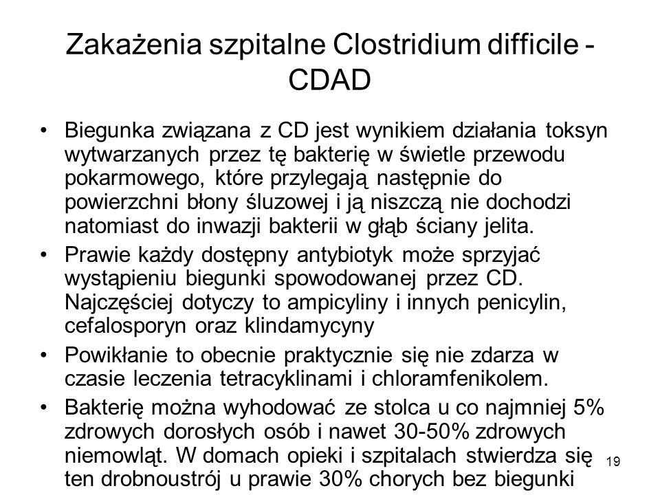 19 Zakażenia szpitalne Clostridium difficile - CDAD Biegunka związana z CD jest wynikiem działania toksyn wytwarzanych przez tę bakterię w świetle prz