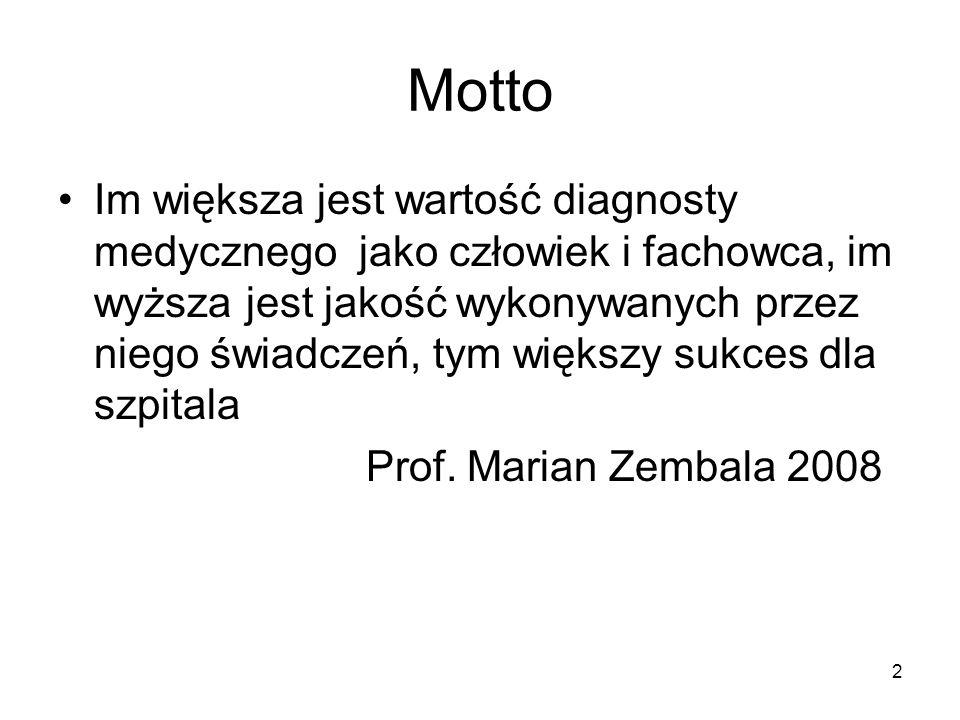 2 Motto Im większa jest wartość diagnosty medycznego jako człowiek i fachowca, im wyższa jest jakość wykonywanych przez niego świadczeń, tym większy s