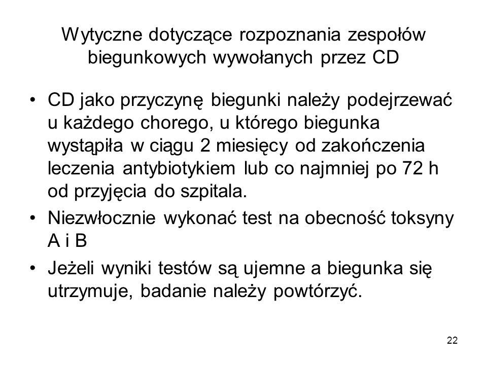 22 Wytyczne dotyczące rozpoznania zespołów biegunkowych wywołanych przez CD CD jako przyczynę biegunki należy podejrzewać u każdego chorego, u którego