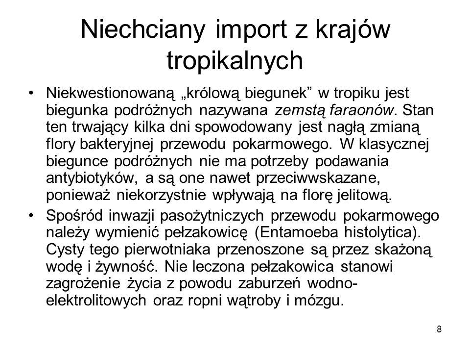 8 Niechciany import z krajów tropikalnych Niekwestionowaną królową biegunek w tropiku jest biegunka podróżnych nazywana zemstą faraonów. Stan ten trwa