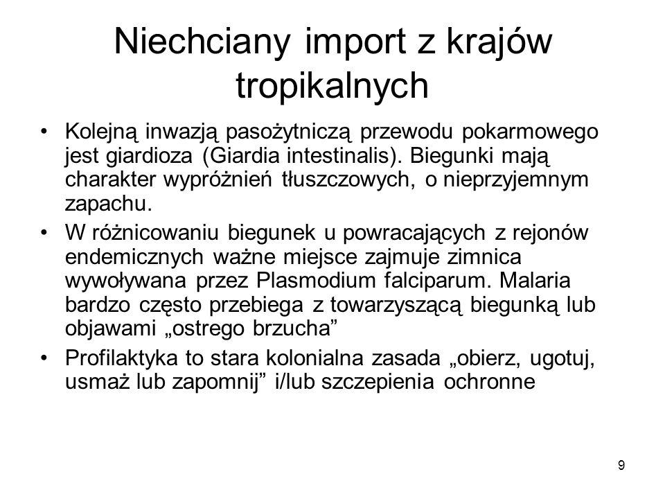 9 Niechciany import z krajów tropikalnych Kolejną inwazją pasożytniczą przewodu pokarmowego jest giardioza (Giardia intestinalis). Biegunki mają chara