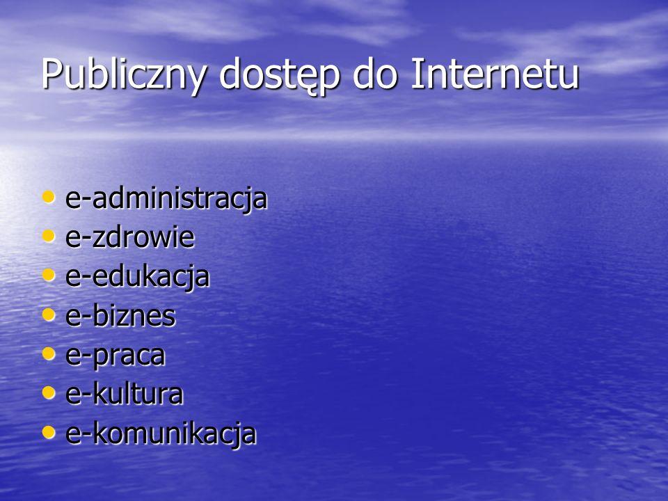 Publiczny dostęp do Internetu e-administracja e-administracja e-zdrowie e-zdrowie e-edukacja e-edukacja e-biznes e-biznes e-praca e-praca e-kultura e-kultura e-komunikacja e-komunikacja