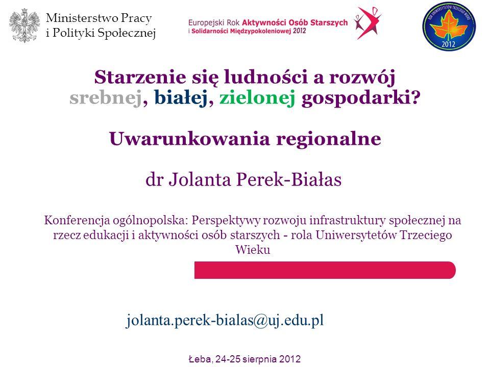 Ministerstwo Pracy i Polityki Społecznej Łeba, 24-25 sierpnia 2012 Starzenie się ludności a rozwój srebnej, białej, zielonej gospodarki? Uwarunkowania