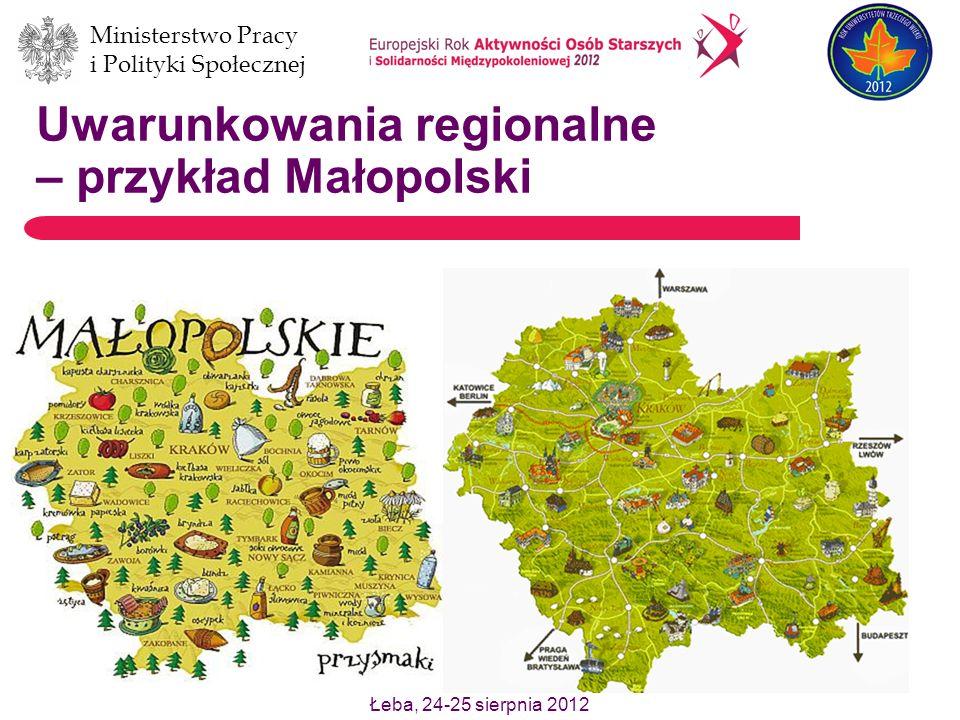 Ministerstwo Pracy i Polityki Społecznej Łeba, 24-25 sierpnia 2012 Uwarunkowania regionalne – przykład Małopolski