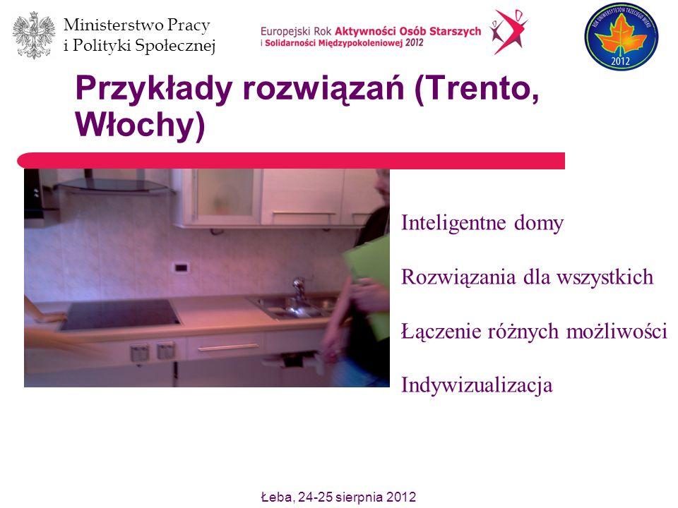 Łeba, 24-25 sierpnia 2012 Ministerstwo Pracy i Polityki Społecznej Przykłady rozwiązań (Trento, Włochy) Inteligentne domy Rozwiązania dla wszystkich Ł