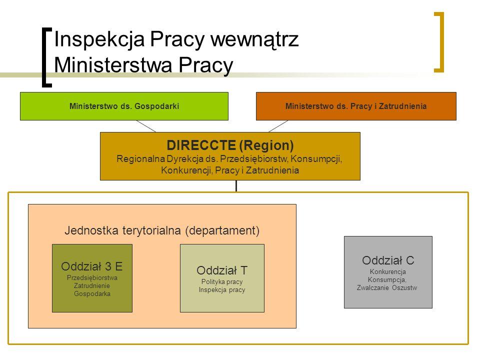 Inspekcja Pracy wewnątrz Ministerstwa Pracy Oddział C Konkurencja Konsumpcja, Zwalczanie Oszustw DIRECCTE (Region) Regionalna Dyrekcja ds. Przedsiębio