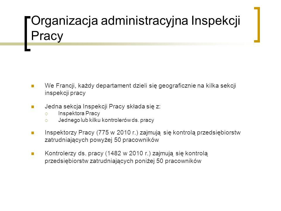 Organizacja administracyjna Inspekcji Pracy We Francji, każdy departament dzieli się geograficznie na kilka sekcji inspekcji pracy Jedna sekcja Inspek