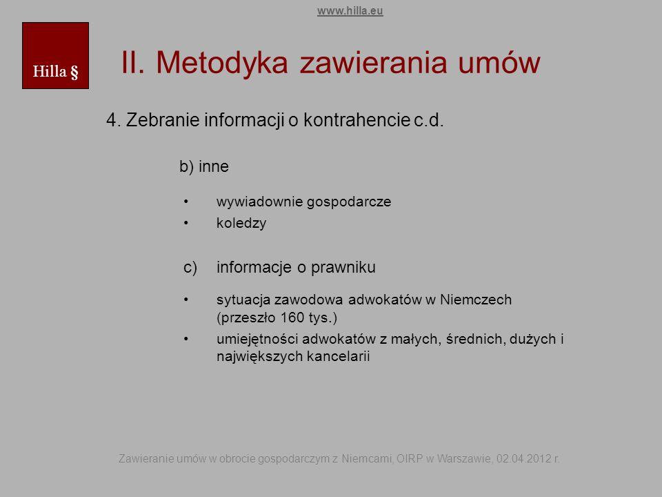 II. Metodyka zawierania umów 4. Zebranie informacji o kontrahencie c.d. b) inne wywiadownie gospodarcze koledzy c)informacje o prawniku sytuacja zawod