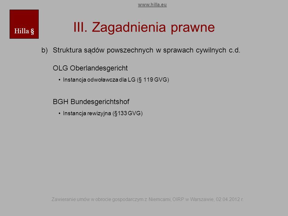 III. Zagadnienia prawne b)Struktura sądów powszechnych w sprawach cywilnych c.d. OLG Oberlandesgericht Instancja odwoławcza dla LG (§ 119 GVG) BGH Bun