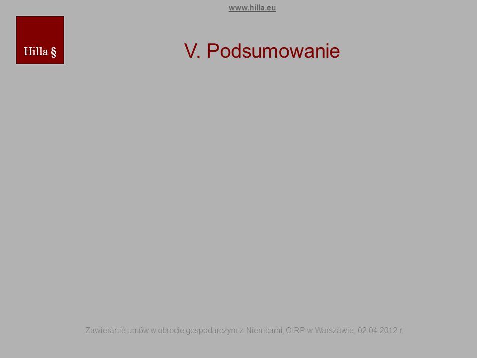 V. Podsumowanie Hilla § www.hilla.eu Zawieranie umów w obrocie gospodarczym z Niemcami, OIRP w Warszawie, 02.04.2012 r.