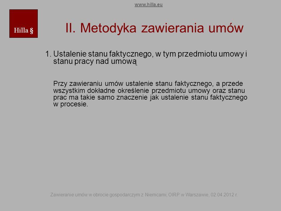 II. Metodyka zawierania umów 1.Ustalenie stanu faktycznego, w tym przedmiotu umowy i stanu pracy nad umową Przy zawieraniu umów ustalenie stanu faktyc