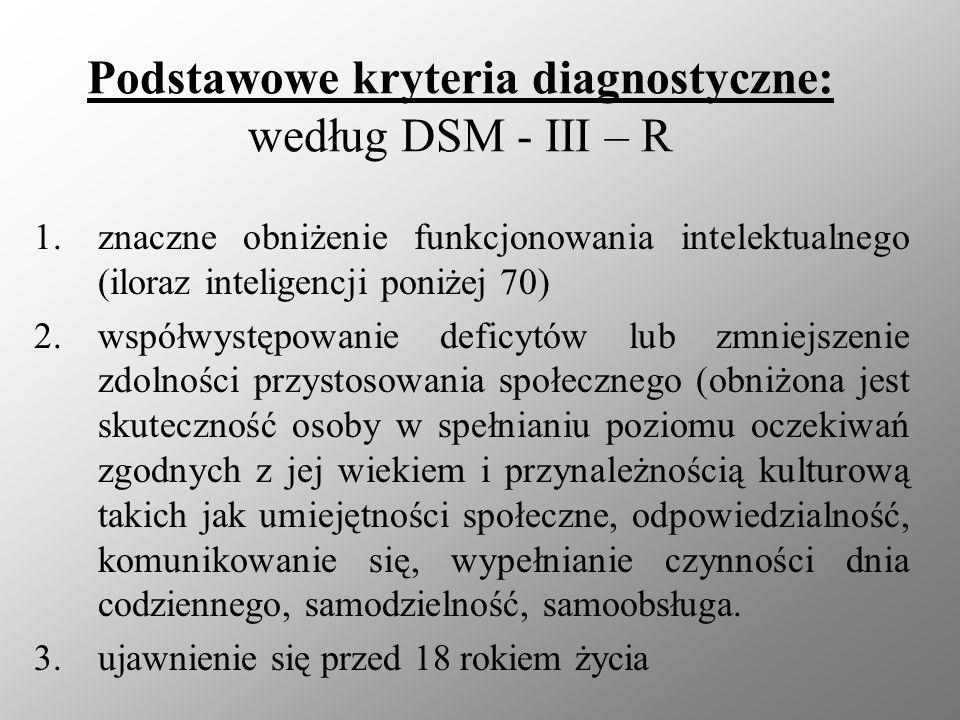 Podstawowe kryteria diagnostyczne: według DSM - III – R 1.znaczne obniżenie funkcjonowania intelektualnego (iloraz inteligencji poniżej 70) 2.współwys