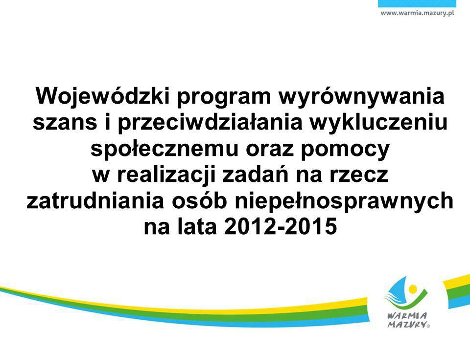 Wojewódzki program wyrównywania szans i przeciwdziałania wykluczeniu społecznemu oraz pomocy w realizacji zadań na rzecz zatrudniania osób niepełnospr