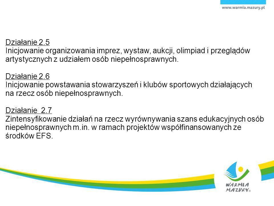Działanie 2.5 Inicjowanie organizowania imprez, wystaw, aukcji, olimpiad i przeglądów artystycznych z udziałem osób niepełnosprawnych. Działanie 2.6 I