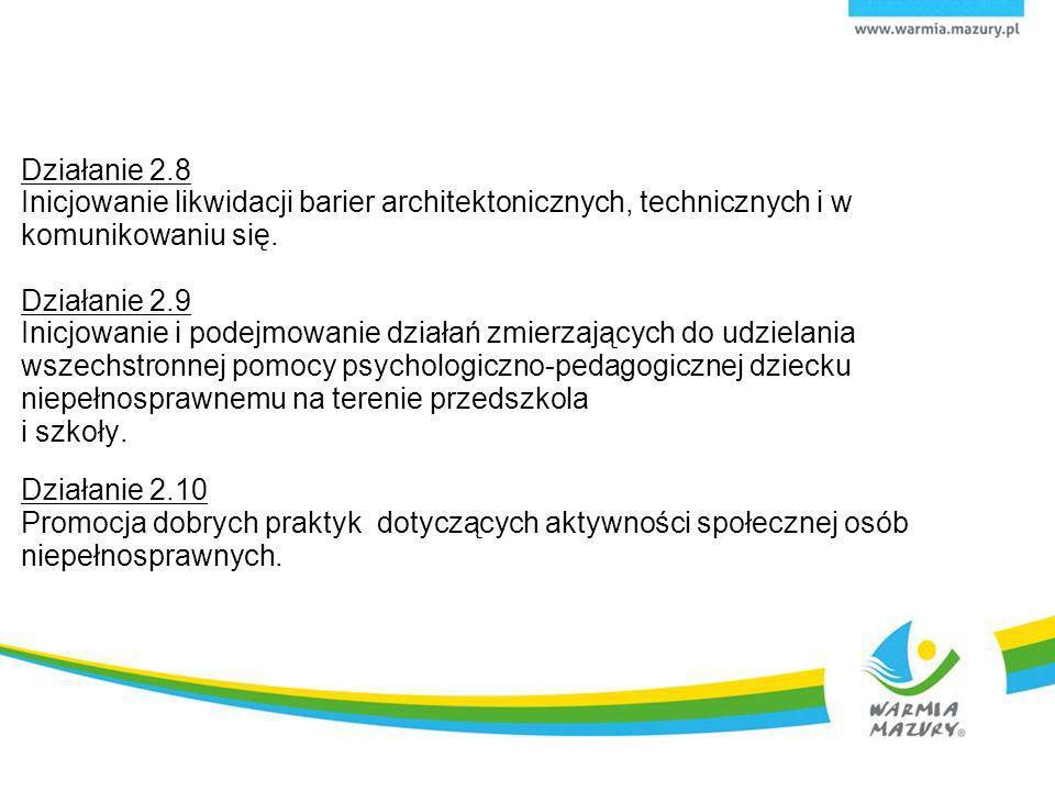 Działanie 2.8 Inicjowanie likwidacji barier architektonicznych, technicznych i w komunikowaniu się. Działanie 2.9 Inicjowanie i podejmowanie działań z