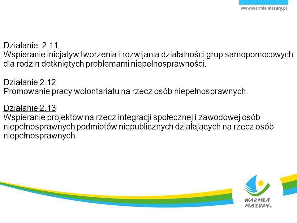 Działanie 2.11 Wspieranie inicjatyw tworzenia i rozwijania działalności grup samopomocowych dla rodzin dotkniętych problemami niepełnosprawności. Dzia