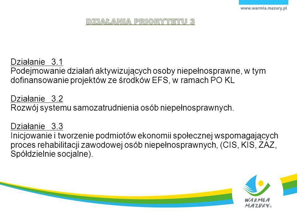 Działanie 3.1 Podejmowanie działań aktywizujących osoby niepełnosprawne, w tym dofinansowanie projektów ze środków EFS, w ramach PO KL Działanie 3.2 R