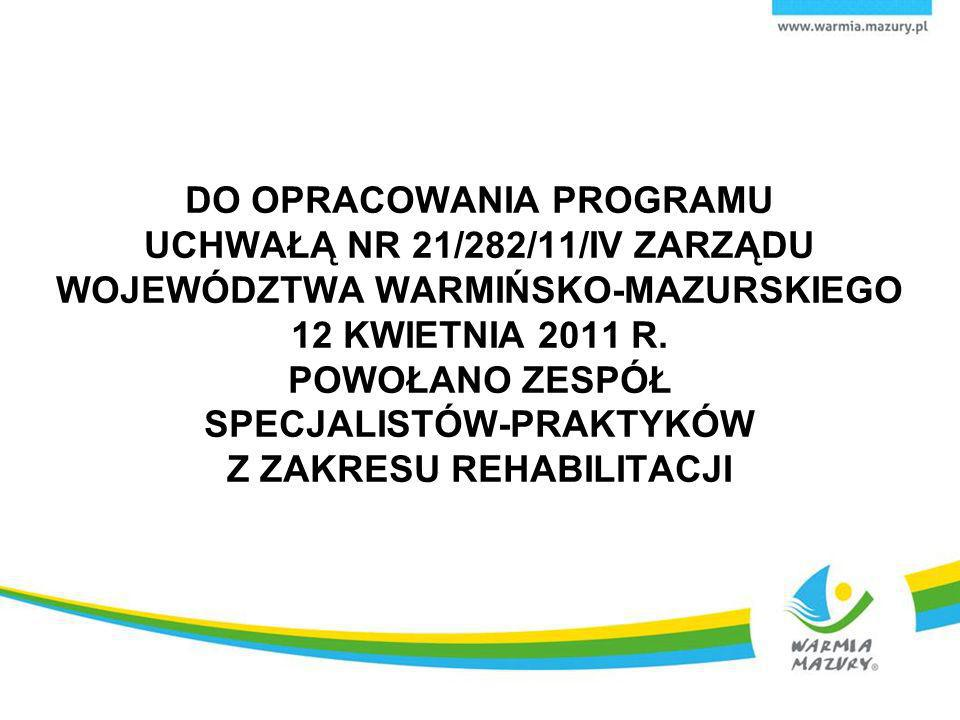 DO OPRACOWANIA PROGRAMU UCHWAŁĄ NR 21/282/11/IV ZARZĄDU WOJEWÓDZTWA WARMIŃSKO-MAZURSKIEGO 12 KWIETNIA 2011 R. POWOŁANO ZESPÓŁ SPECJALISTÓW-PRAKTYKÓW Z