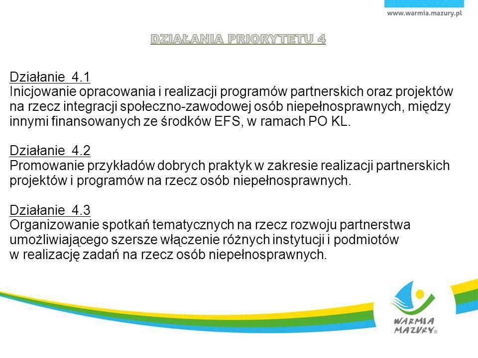 Działanie 4.1 Inicjowanie opracowania i realizacji programów partnerskich oraz projektów na rzecz integracji społeczno-zawodowej osób niepełnosprawnych, między innymi finansowanych ze środków EFS, w ramach PO KL.
