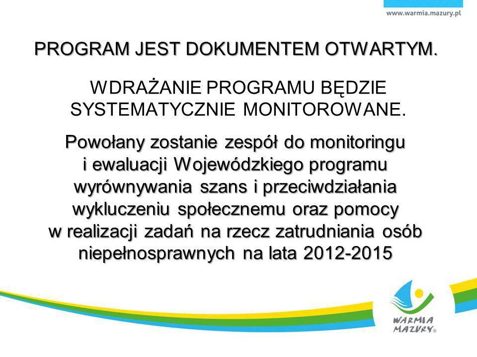 Powołany zostanie zespół do monitoringu i ewaluacji Wojewódzkiego programu wyrównywania szans i przeciwdziałania wykluczeniu społecznemu oraz pomocy w realizacji zadań na rzecz zatrudniania osób niepełnosprawnych na lata 2012-2015 PROGRAM JEST DOKUMENTEM OTWARTYM.
