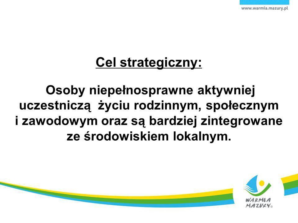 Cel strategiczny: Osoby niepełnosprawne aktywniej uczestniczą życiu rodzinnym, społecznym i zawodowym oraz są bardziej zintegrowane ze środowiskiem lokalnym.