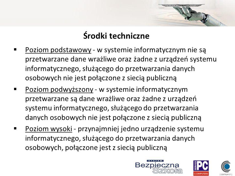 Środki techniczne Poziom podstawowy - w systemie informatycznym nie są przetwarzane dane wrażliwe oraz żadne z urządzeń systemu informatycznego, służą