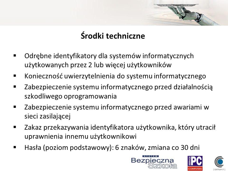 Środki techniczne Odrębne identyfikatory dla systemów informatycznych użytkowanych przez 2 lub więcej użytkowników Konieczność uwierzytelnienia do sys