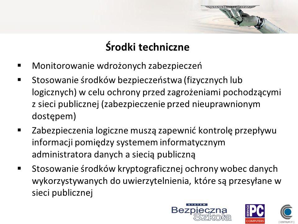 Środki techniczne Monitorowanie wdrożonych zabezpieczeń Stosowanie środków bezpieczeństwa (fizycznych lub logicznych) w celu ochrony przed zagrożeniam