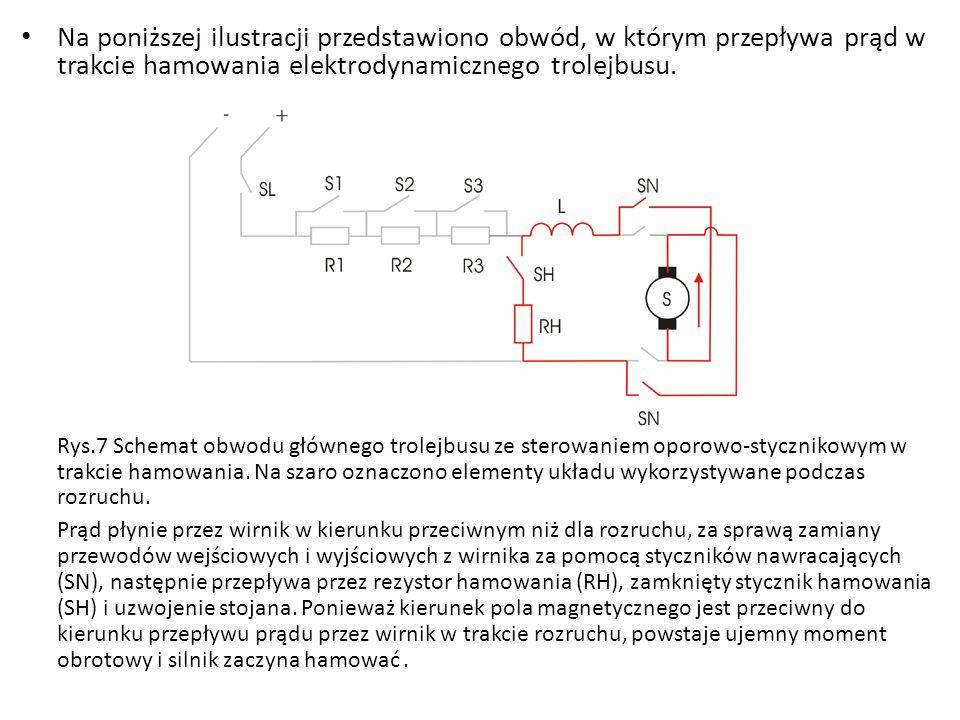 Na poniższej ilustracji przedstawiono obwód, w którym przepływa prąd w trakcie hamowania elektrodynamicznego trolejbusu. Rys.7 Schemat obwodu głównego