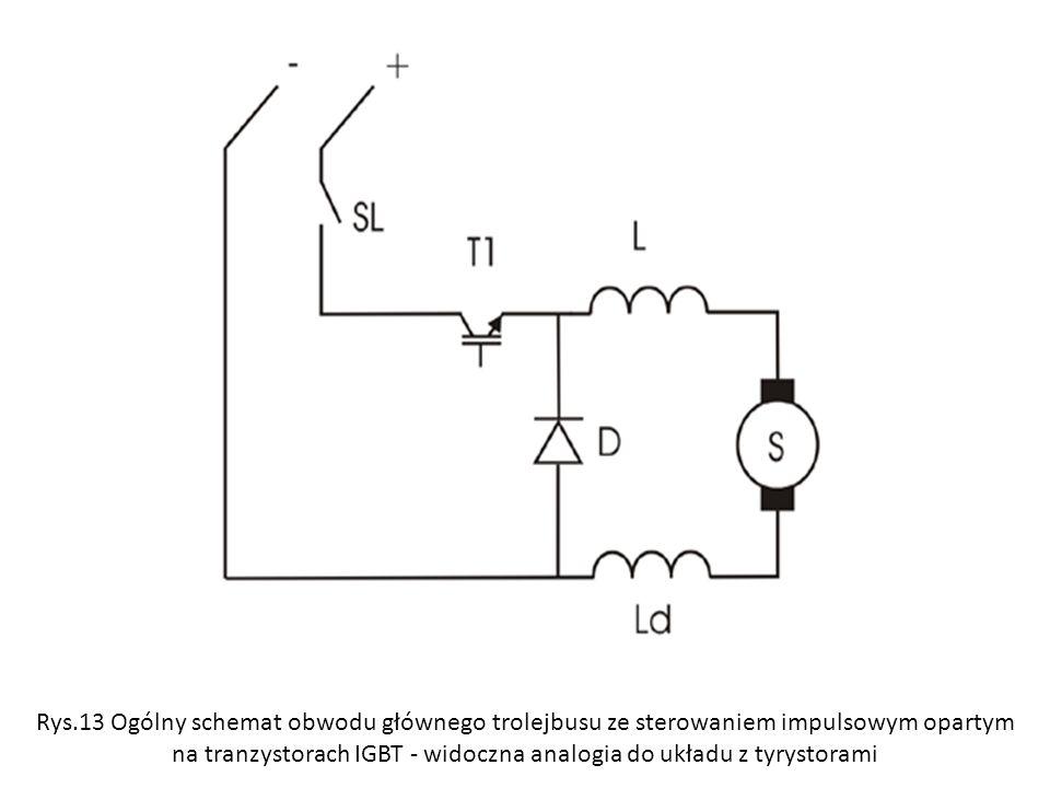 Rys.13 Og ó lny schemat obwodu gł ó wnego trolejbusu ze sterowaniem impulsowym opartym na tranzystorach IGBT - widoczna analogia do układu z tyrystora