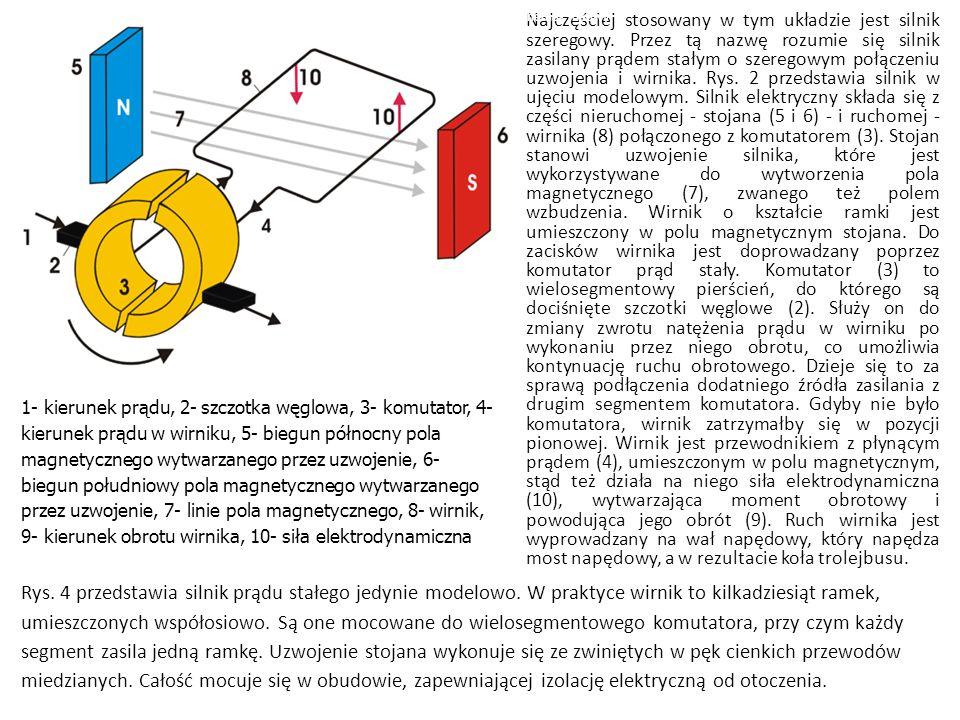 Najczęściej stosowany w tym układzie jest silnik szeregowy. Przez tą nazwę rozumie się silnik zasilany prądem stałym o szeregowym połączeniu uzwojenia