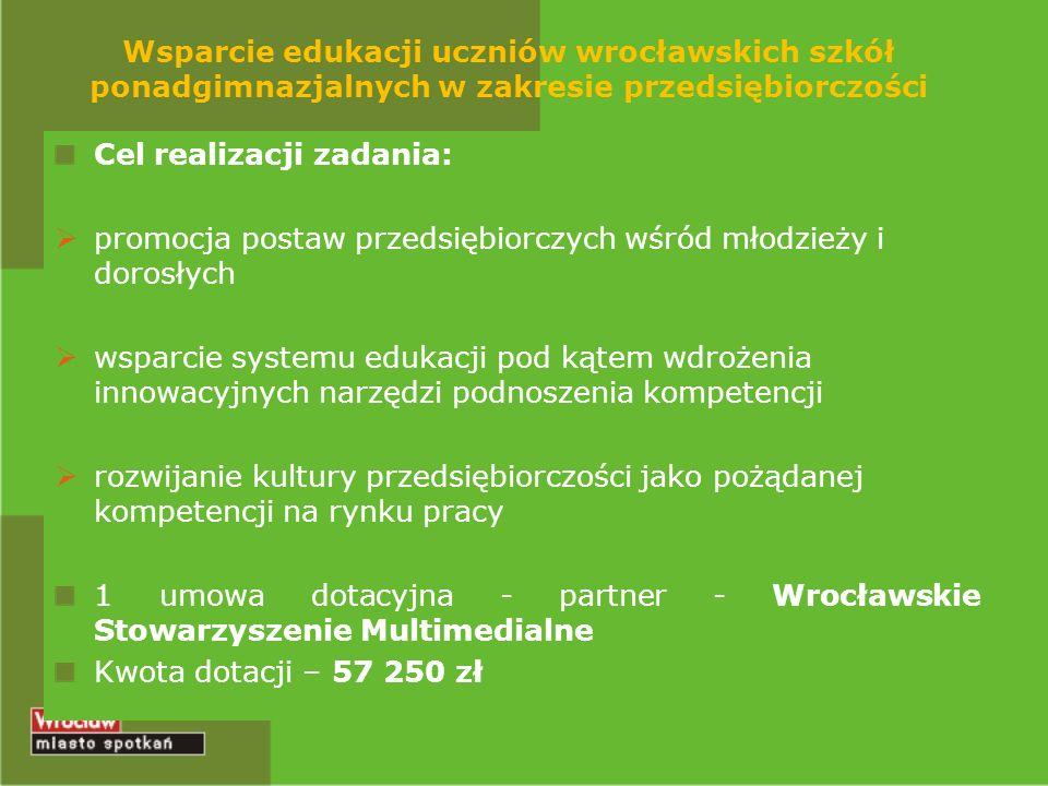 Wsparcie edukacji uczniów wrocławskich szkół ponadgimnazjalnych w zakresie przedsiębiorczości Cel realizacji zadania: promocja postaw przedsiębiorczyc