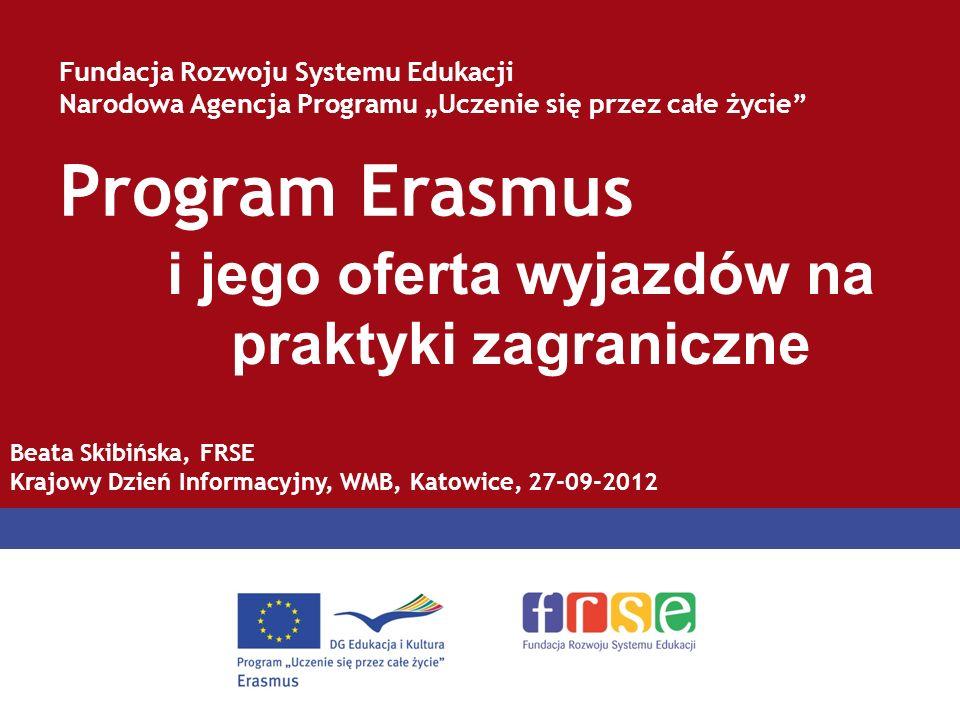 Program Erasmus Fundacja Rozwoju Systemu Edukacji Narodowa Agencja Programu Uczenie się przez całe życie i jego oferta wyjazdów na praktyki zagraniczn