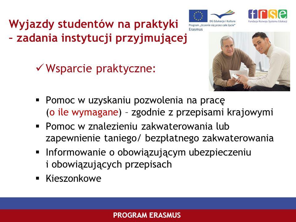 PROGRAM COMENIUSPROGRAM ERASMUS Wyjazdy studentów na praktyki – zadania instytucji przyjmującej Wsparcie praktyczne: Pomoc w uzyskaniu pozwolenia na p