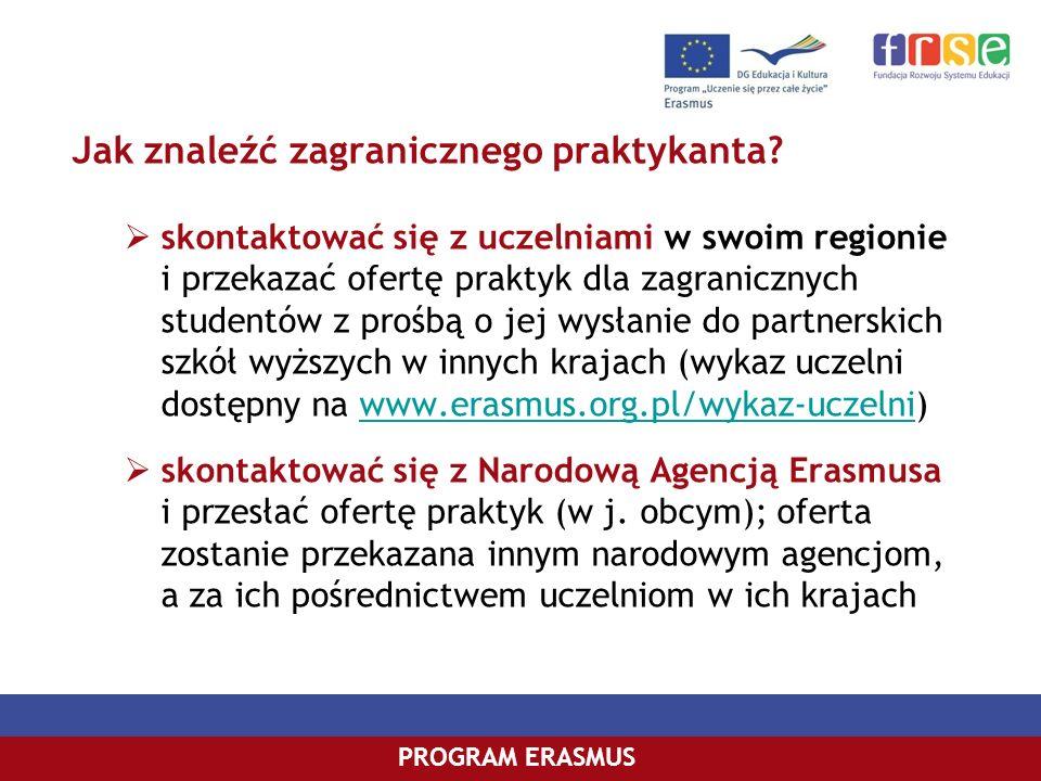PROGRAM COMENIUSPROGRAM ERASMUS Jak znaleźć zagranicznego praktykanta? skontaktować się z uczelniami w swoim regionie i przekazać ofertę praktyk dla z