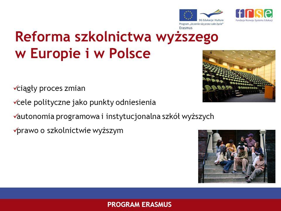 PROGRAM COMENIUSPROGRAM ERASMUS Reforma szkolnictwa wyższego w Europie i w Polsce ciągły proces zmian cele polityczne jako punkty odniesienia autonomi