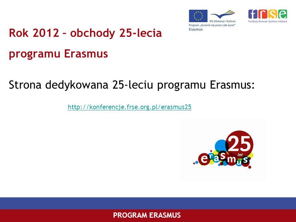 PROGRAM COMENIUSPROGRAM ERASMUS Rok 2012 – obchody 25-lecia programu Erasmus Strona dedykowana 25-leciu programu Erasmus: http://konferencje.frse.org.