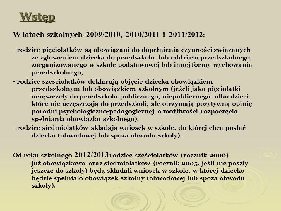 Wstęp W latach szkolnych 2009/2010, 2010/2011 i 2011/2012 : - rodzice pięciolatków są obowiązani do dopełnienia czynności związanych ze zgłoszeniem dz