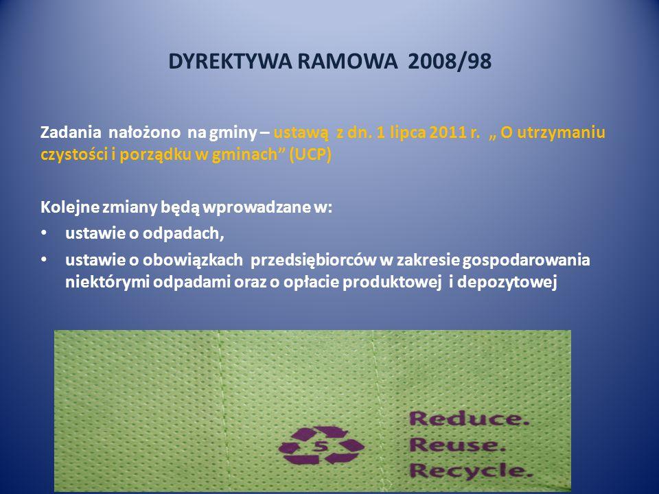 DYREKTYWA RAMOWA 2008/98 Zadania nałożono na gminy – ustawą z dn. 1 lipca 2011 r. O utrzymaniu czystości i porządku w gminach (UCP) Kolejne zmiany będ
