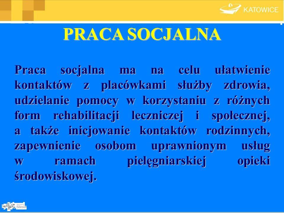 PRACA SOCJALNA Praca socjalna ma na celu ułatwienie kontaktów z placówkami służby zdrowia, udzielanie pomocy w korzystaniu z różnych form rehabilitacj