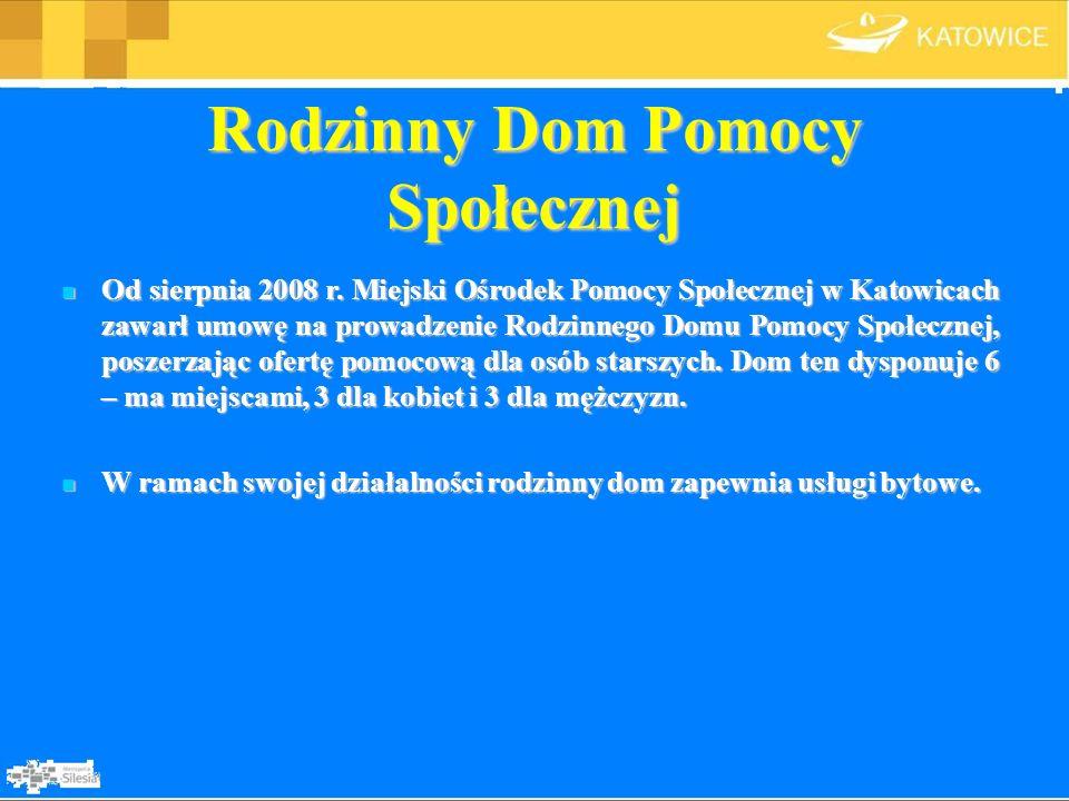 Rodzinny Dom Pomocy Społecznej Od sierpnia 2008 r. Miejski Ośrodek Pomocy Społecznej w Katowicach zawarł umowę na prowadzenie Rodzinnego Domu Pomocy S