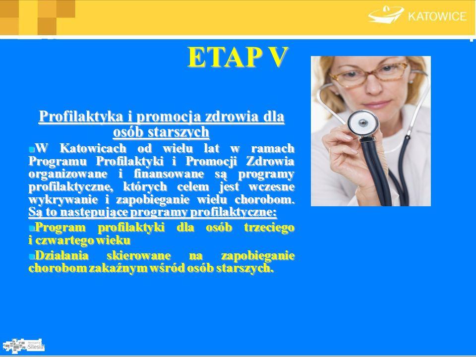 ETAP V Profilaktyka i promocja zdrowia dla osób starszych W Katowicach od wielu lat w ramach Programu Profilaktyki i Promocji Zdrowia organizowane i f