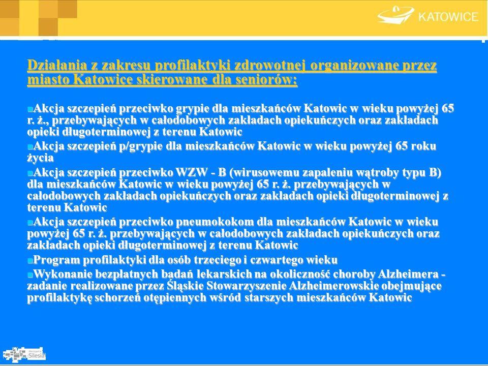 Działania z zakresu profilaktyki zdrowotnej organizowane przez miasto Katowice skierowane dla seniorów: Akcja szczepień przeciwko grypie dla mieszkańc