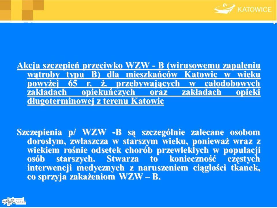 Akcja szczepień przeciwko WZW - B (wirusowemu zapaleniu wątroby typu B) dla mieszkańców Katowic w wieku powyżej 65 r. ż. przebywających w całodobowych