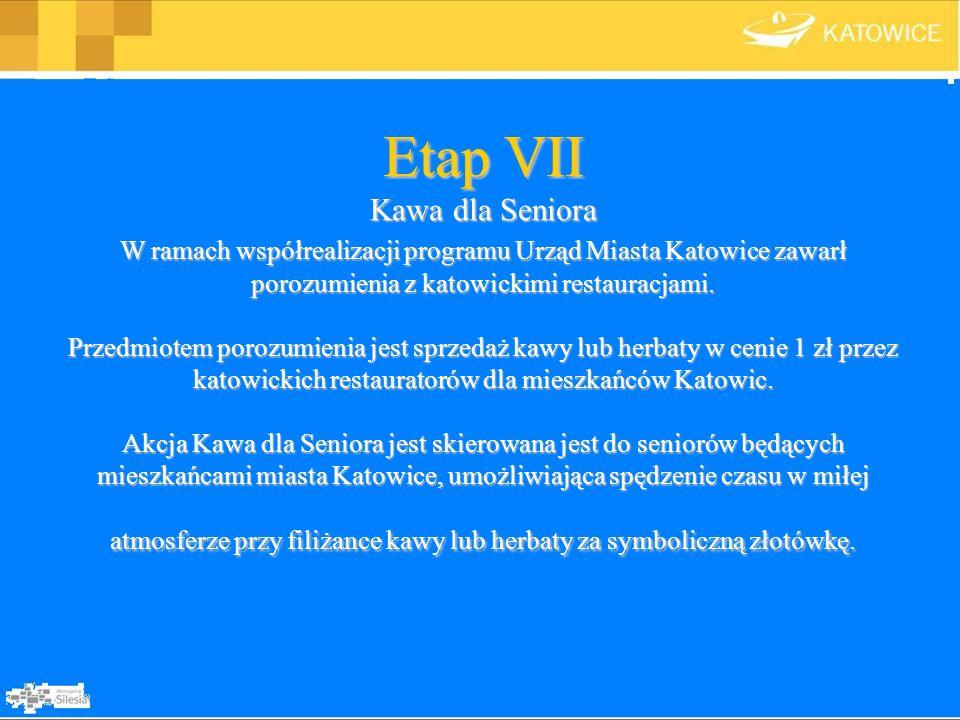 Etap VII Kawa dla Seniora W ramach współrealizacji programu Urząd Miasta Katowice zawarł porozumienia z katowickimi restauracjami. Przedmiotem porozum