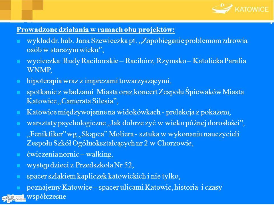 Prowadzone działania w ramach obu projektów: wykład dr. hab. Jana Szewieczka pt. Zapobieganie problemom zdrowia osób w starszym wieku, wycieczka: Rudy