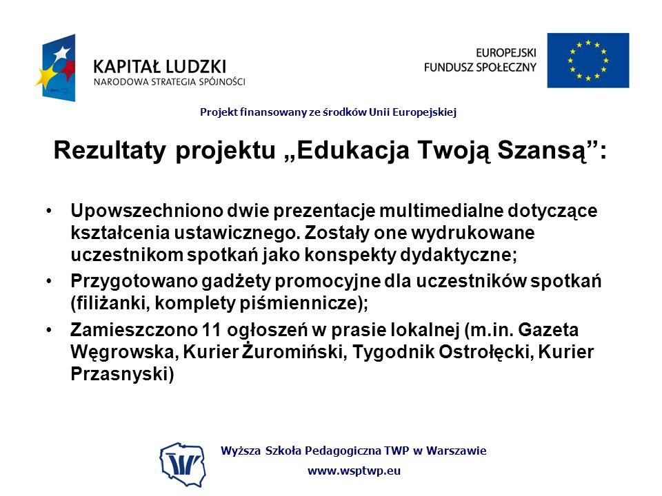 Wyższa Szkoła Pedagogiczna TWP w Warszawie www.wsptwp.eu Projekt finansowany ze środków Unii Europejskiej Rezultaty projektu Edukacja Twoją Szansą: Upowszechniono dwie prezentacje multimedialne dotyczące kształcenia ustawicznego.